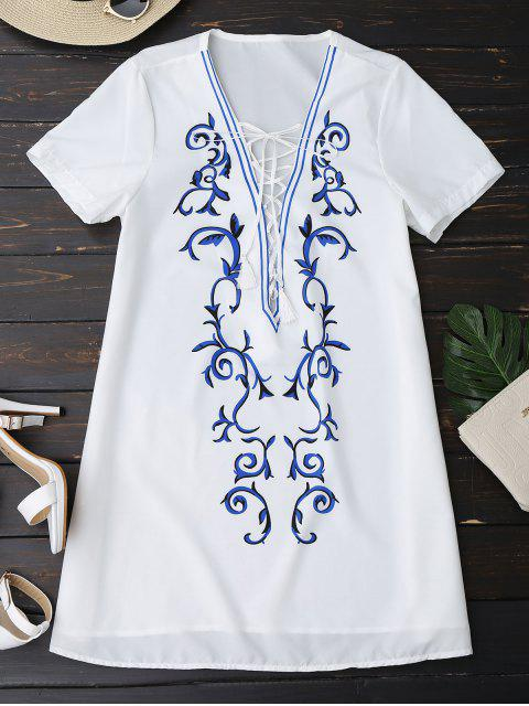 shops Printed Lace Up Plunging Neck Dress - WHITE L Mobile
