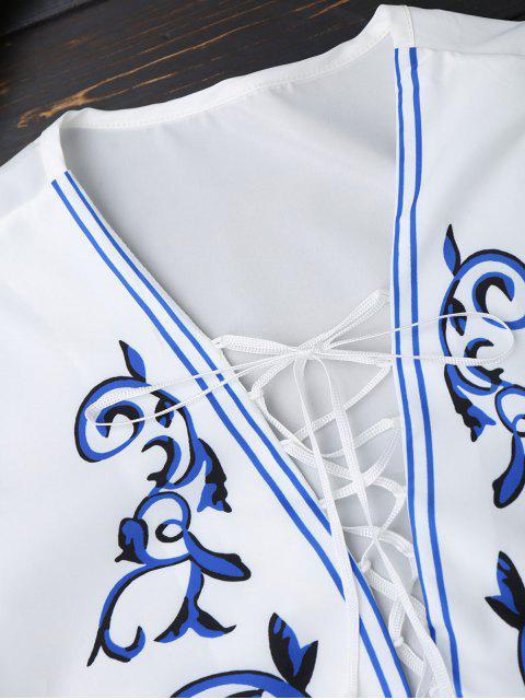 Robe à encolure en dentelle à imprimé imprimé - Blanc XL Mobile