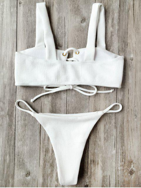 online Ribbed Texture Lace Up Bathing Suit - WHITE L Mobile