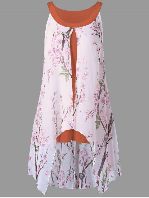 ladies Plus Size Tiny Floral High Low Blouse - ORANGE RED 5XL Mobile