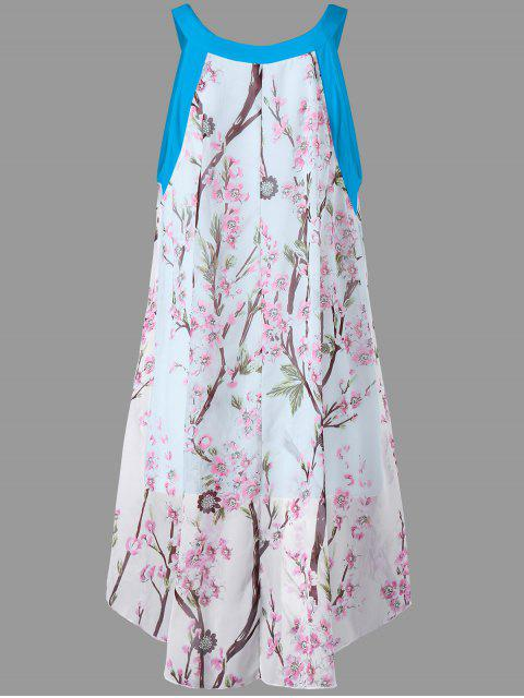 women Plus Size Tiny Floral High Low Blouse - LAKE BLUE 2XL Mobile