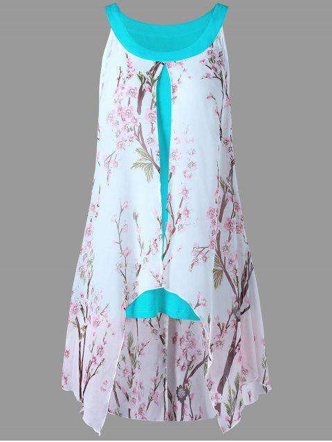 fashion Plus Size Tiny Floral High Low Blouse - CHAMBRAY XL Mobile