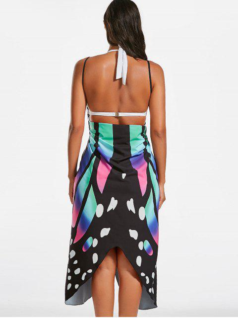 chic Butterfly Print Beach Wrap Cover Up Dress - COLORMIX M Mobile