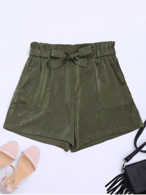 unique Self Tie Casual Shorts - ARMY GREEN XL Mobile