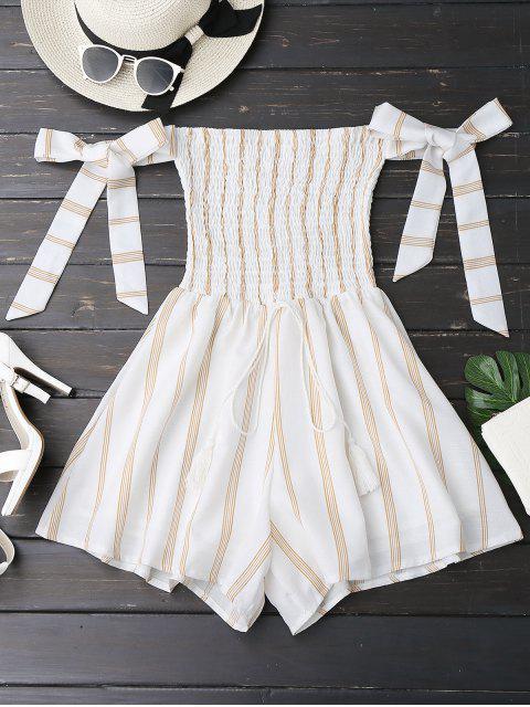 fashion Self Tie Strapless Striped Romper - WHITE S Mobile