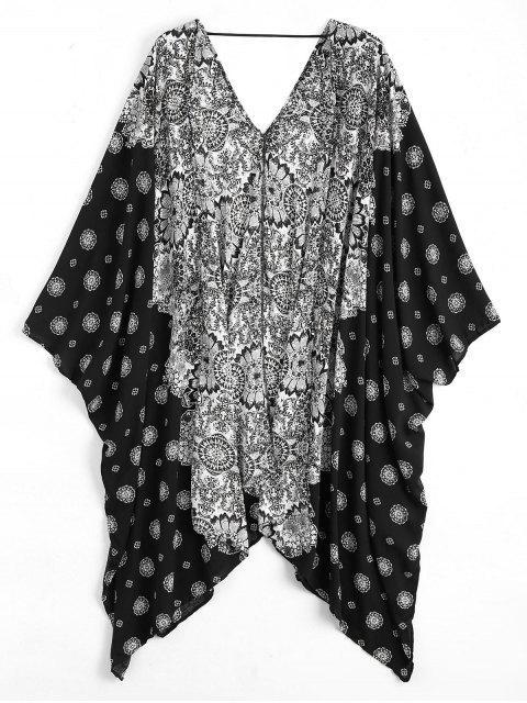Kimono de Plage à Manches Chauve-Souris avec Motif - Noir Taille Unique Mobile