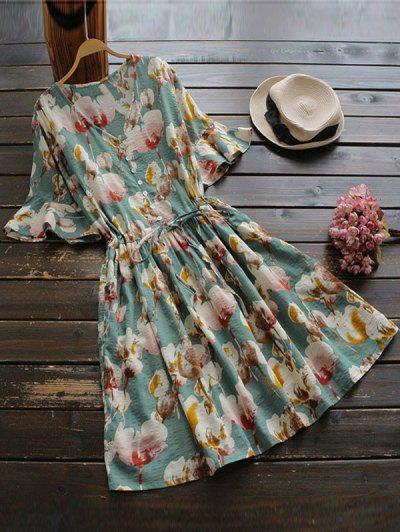 Floral Print V Neck Drawstring Dress - Floral