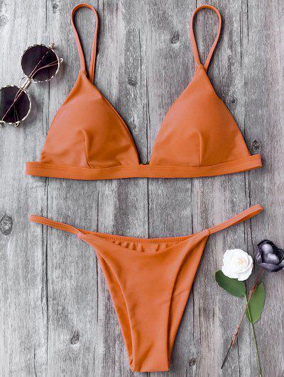 Spaghetti Riemchen Plunge Bikini-Set - Orange S