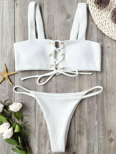 Ribbed Texture Lace Up Bathing Suit - White M