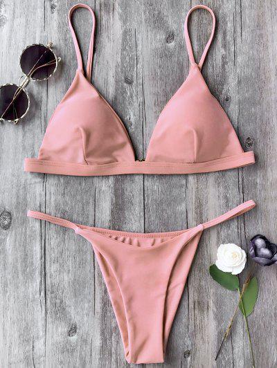 Spaghetti Straps Plunge Thong Bikini Set - Pink S
