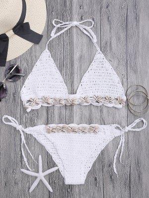 Seashell Trim Crochet String Bikini Set - White