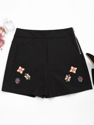 Shorts Taille Haute Avec Patch Perlé - Noir S