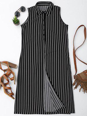 Sleeveless Striped High Slit Shirt - Stripe M