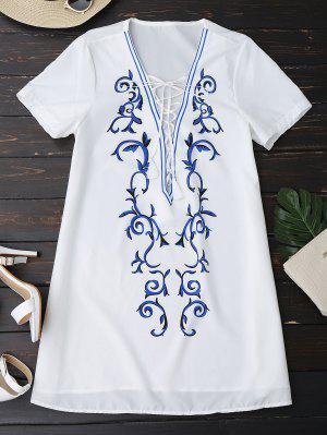 Printed Lace Up Plunge Vestido De Cuello - Blanco L