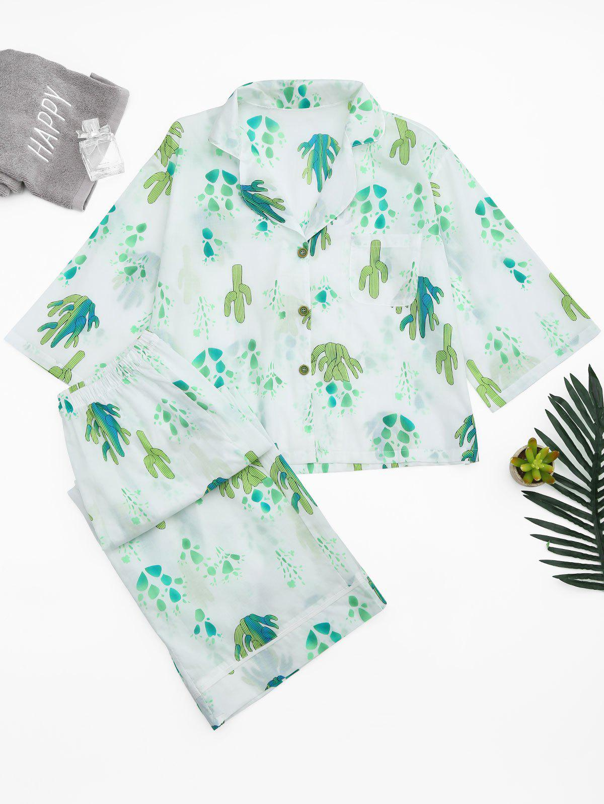 Cactus Print Shirt with Wide Leg Pants 216158103