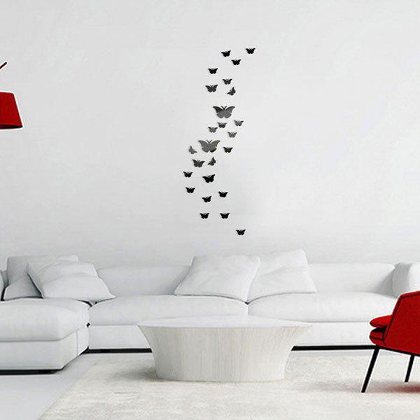 25 PCS papillons décoratifs miroir amovible autocollants muraux