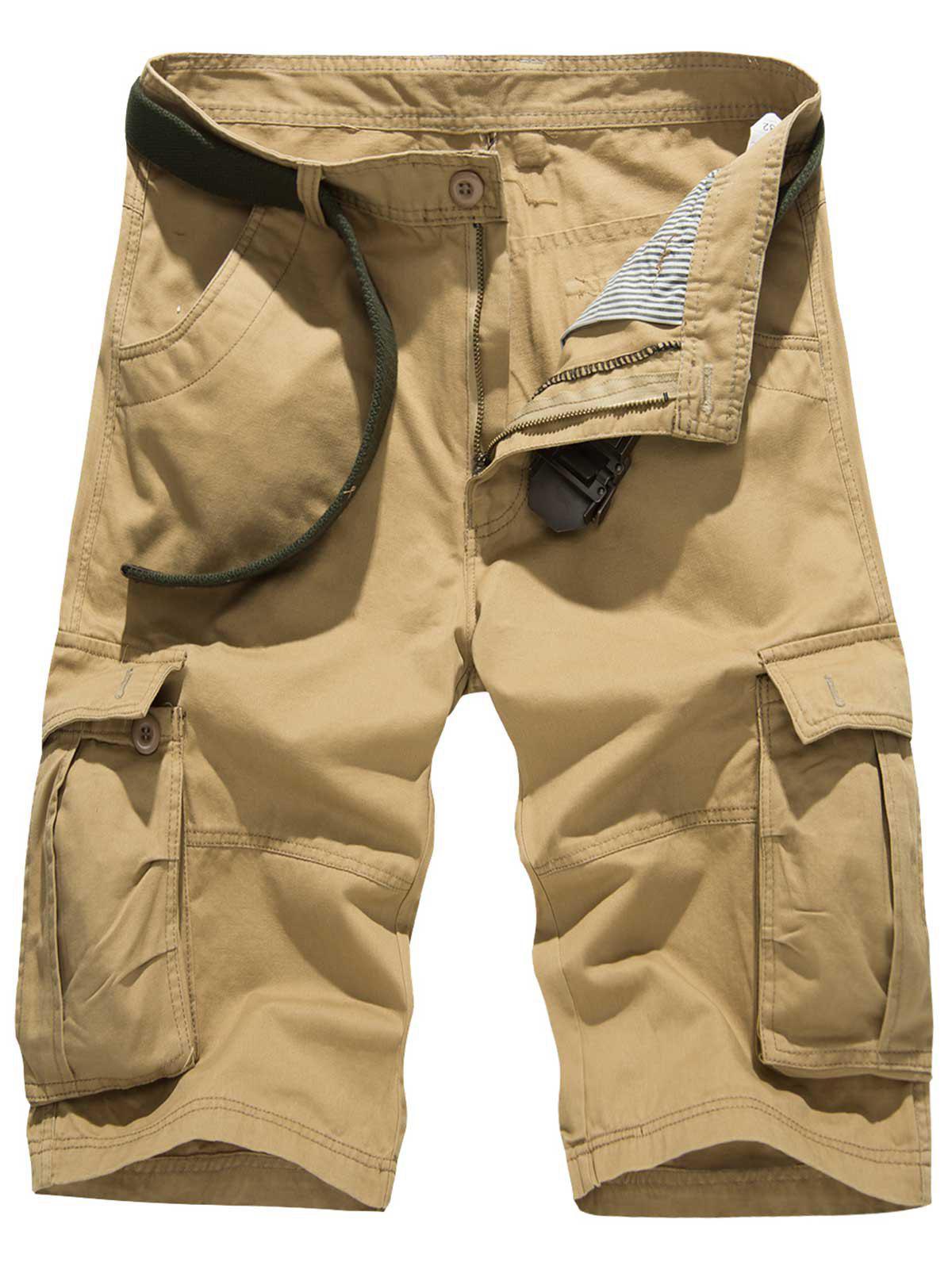 Zipper Fly Pockets Embellished Design Cargo Shorts 215866026