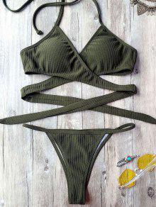 Textured High Cut Wrap String Bikini Set - Army Green M