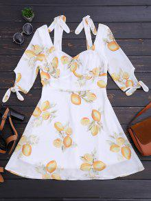 Cut Out Lemon Cold Shoulder Mini Dress - Floral M