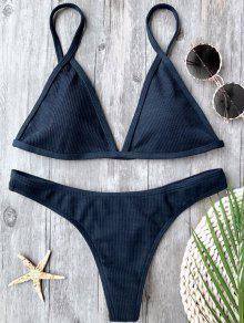 Ribbed Textured Plunge Bikini Set - Purplish Blue M