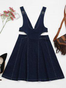 Cut Out Pinafore Denim Dress - Denim Blue L