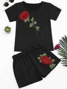 Conjunto Blusa Manga Curta + Shorts Com Patch Floral  - Preto Xl