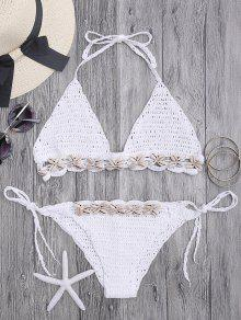 Ensemble De Bikini En Crochet à Coquillage Seashell Trim - Blanc