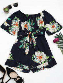Buy Shoulder Floral Print Ruffled Romper - PURPLISH BLUE ONE SIZE