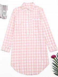 Arc Hem Checked Loungewear Shirt Dress - Plaid M