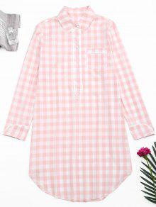 Arc Hem Checked Loungewear Shirt Dress - Xadrez M
