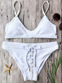 Ribbed Lace Up Bralette Bikini Set - White M