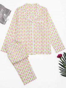 Pineapple Print Pocket Loungewear Suit - White M