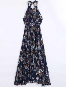 Floral Print Openwork Backless Maxi Dress - Floral L