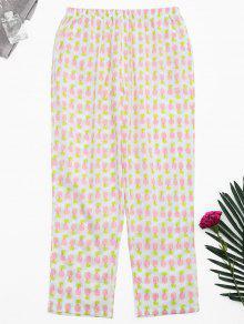 Side Pockets Pineapple Print Loungewear Pants - White Xl