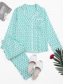 Sea Horse Print Pocket Loungewear Suit - White Xl