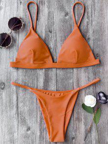 Spaghetti Straps Plunge Thong Bikini Set - Orange S