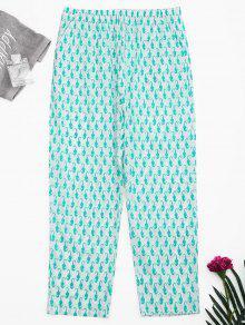 Side Pockets Sea Horse Print Loungewear Pants - White S