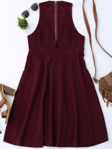 Plunging Neck Sleeveless Flare Dress - Wine Red M