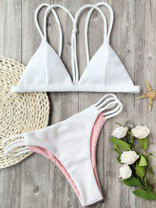 Banded Ribbed Texture Strappy Bikini - White S