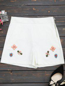 High Waisted Beading Patched Shorts - White M