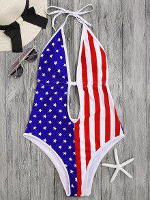 Patriotic American Flag High Cut Swimsuit - L