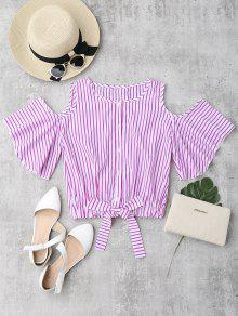 Cold Shoulder Button Up Striped Blouse - Rose Red S