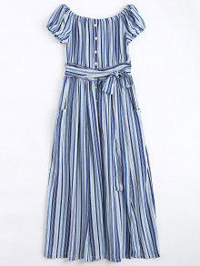 Stripes Button Up Off Shoulder Maxi Dress - Stripe S