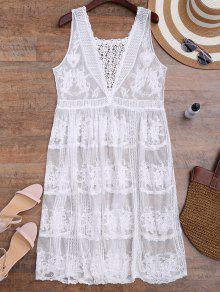 Crochet Panel Cuello Cuadrado Cubre Hasta El Vestido - Blanco