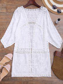Crochet Panel Open Front Embroidered Cover Up - White