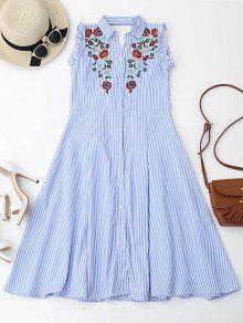 Floral Bordado Volantes Vestido De Camisa Recortada - Azul Claro M