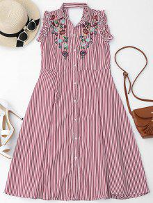 Floral Embroidered Ruffles Cut Out Shirt Dress - Red M
