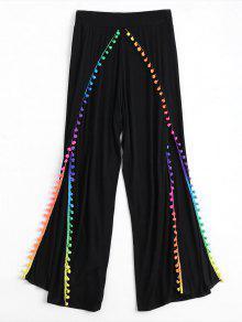 Pom Embellished Tulip Cover Up Pants - Black L
