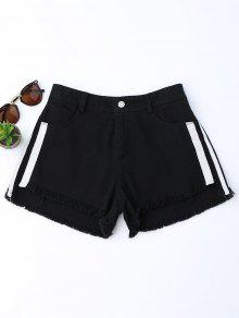 Striped Frayed Hem Denim Shorts - Black M