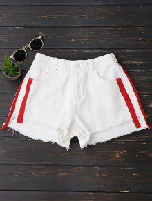 Striped Frayed Hem Denim Shorts - White S